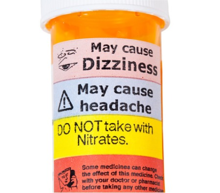 Warning on prescription bottle about nitrates and erective disfunction tablets